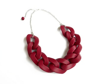 Maroon Red Chain Link Necklace, Oversized Chain Statement Necklace, Polymer Clay Necklace