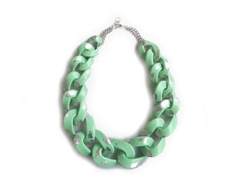 Mint Statement Necklace, Chunky Chain Link Necklace, Mint Silver Necklace