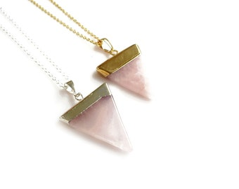 Rose Quartz Necklace, Mineral Necklace, Triangle Necklace, Crystal Necklace, Birthstone Jewelry