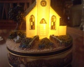 Amazing Grace Music Box Church and Steeple with Light