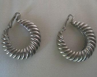 Vintage Silver Tone Fluted Hoop Clip Earrings