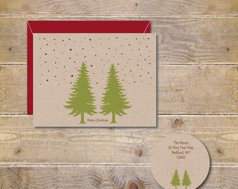 Rustic Christmas Cards, Christmas Cards, Evegreen, Trees, Holiday Cards, Christmas Card Sets, Holiday Cards, Christmas Greeting