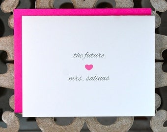 The Future Mrs, Bridal Shower Thank You Cards, Soon To Be Mrs, Bridal Shower Cards, Thank You Cards,  Hearts, Bridal Shower -Set of 50