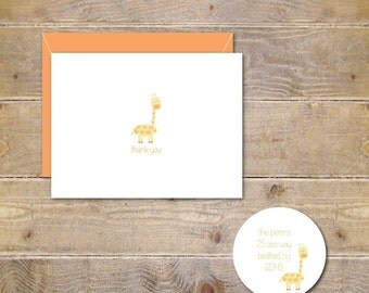 Baby Shower, Baby Shower Thank You Cards, Giraffe, Giraffes,  Thank You Cards,  Zoo, Animals, Baby Announcements, New Baby