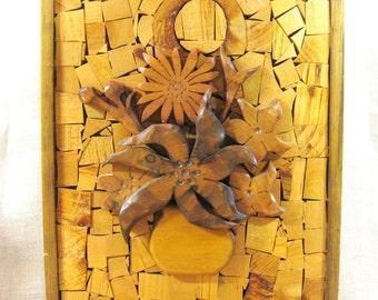 Vintage Folk Art Flower Still Life, Floral Arrangement, Wood Carving, Wall Decor, Handmade, Wooden Wall Plaque, Rustic Decor