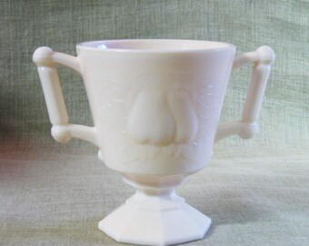Pink Milk Glass , Sugar Bowl , Vase , Bud Vase , Small Urn Vase , Pink Glass , Glass , Pears , Handles , Small Vase , Rose Vase , Pink