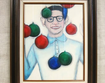 Male Portraiture Painting, Wil Shepherd Studio, Portraits of Men, Original Fine Art, Paintings of Men, Christmas, Holiday Decor, Framed,
