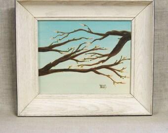 Painting , Cherry Blossom , Tree , Spring , Original , Nature , Art , Fine Art , Handmade , Tree Limb , Trees , Baby Blue , Pastel ,Framed