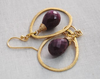 Faceted Ruby Gemstone and Gold Earrings