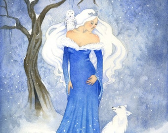 Fairy Art Watercolor Print - The Snow Queen - watercolor. winter. fantasy. fox. owl. frozen.