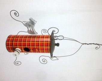 A Tartan Vintage Thermos Birdhouse and Scottie Dog