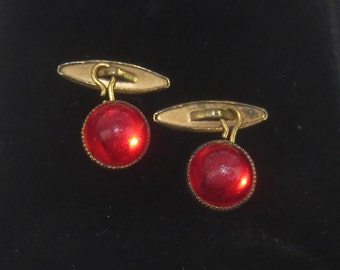 Vintage Man's 1940's-1950's Faux Ruby Red & Gold Cuff Links - Retro Men's Accessories