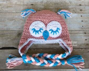Ready to Ship Girl's Handmade Owl Hat, Crochet Cap, Winter Wear, Accessory, Teen Hat, Ladies Ear Flap, Beanie, Christmas Gift