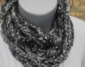 Infinity Crochet Chain Scarf, Black and Gray Infinity Neckwarmer by Crocheted by Charlene