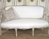 Antique French Settee White Linen