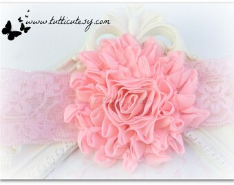 Pink Flower and Lace headband