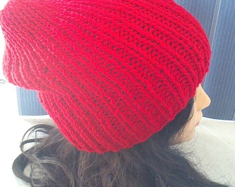 Red Hat, Knitted Touque, Winter Hat, Ribbed Beanie, Slouchie Beanie, Knit Hat