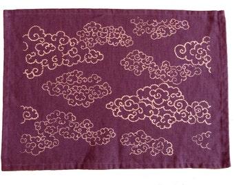 Two katazome purple linen placemats