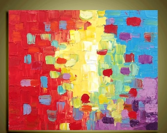 """Abstract art original Oil Painting  Impasto Palette Knife fine thick textured art on Canvas Ready to Hang by Qujun 16""""x20"""""""