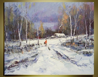 "Original oil painting Modern Palette Knife landscape fine art on Canvas The winter Birch Forest Back Home Ready to Hang 20"" by 24"""