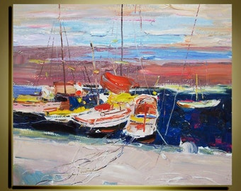 """Original  Oil Painting Modern Palette Knife landscape  Fine art on Canvas  Seaside  Ready to Hang by Qujun 20"""" by 24"""""""