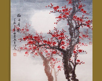 Cherry blossom painting Original painting chinese art oriental art -Lovely cherry blossom tree No.45