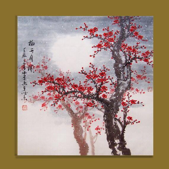 Fiore di ciliegio dipinto originale dipinto arte orientale for Fiori di ciliegio dipinti