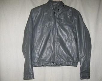 Vintage Bermans Gray Leather Bomber Flight Biker Jacket Coat Zip Out Faux Fur Liner 42 Medium