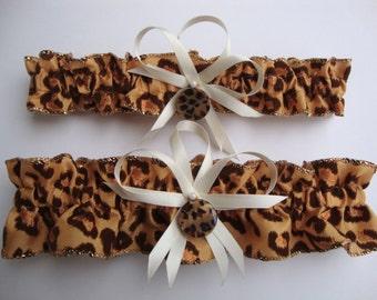 Leopard Print Wedding Garter Set, Bridal Garter, Prom Garter  (Your Choice, Single or Set)