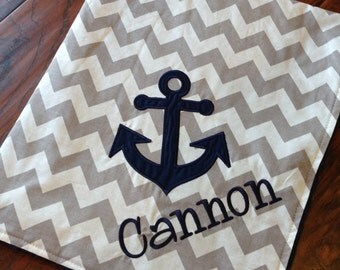 Personalized Baby Blanket- Anchor Baby Blanket-  Minky Baby Blanket- Chevron Minky Blanket- Applique Baby Blanket-