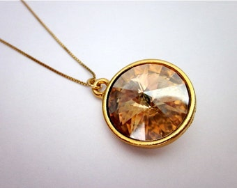 Amber Swarovski Necklace -- Gold & Amber Necklace -- Swarovski Pendant Necklace -- Golden Shadow Necklace -- Amber Drop Necklace