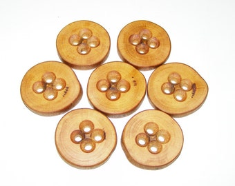 "7 Handmade plum wood Tree Branch Buttons with Bark, accessories (1,38"" diameter x 0,24"" thick)"