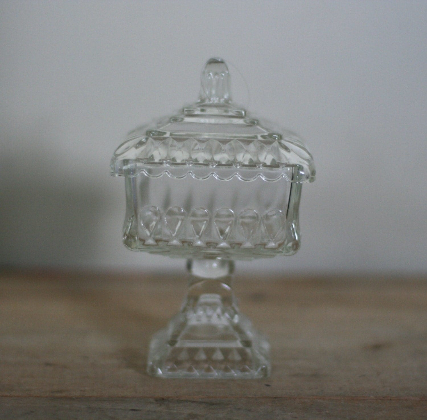 Vintage Candy Dish Clear Glass Pedestal With Lid