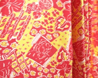 Drapey Red and Yellow Rayon Fabric Yardage Destash