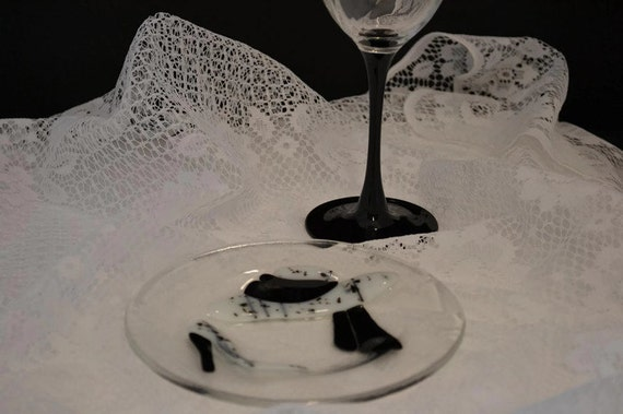 Hats and Heels Dessert Plate, Fused Glass, Black and White, High Tea,  Tea Party Decoration