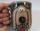 Blue Speckled Dog Face Mug - Holds 12 ounces - In Stock