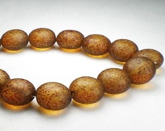 Czech Glass Beads 10mm Matte Amber Lentil 15 Pcs. L-371