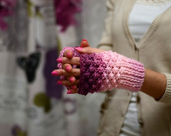 Ombre Fingerless Gloves, Pink Hand Knit Gloves, Arm Warmers, Pink Gloves, Christmas Gift, Stocking Stuffers, Under 25