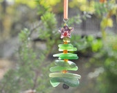 Genuine Sea Glass Delightful Tree Ornament Holiday Package Decor Stocking Stuffer Odd Green Mix and Purple Star Free Shipping Christmas Tree
