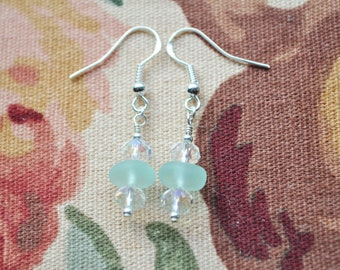 Genuine Sea Glass Beach Earrings Bright Sea Blue with Crystals 7905