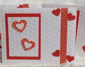 Handmade Blank Valentines Cards Red and White Set of Five