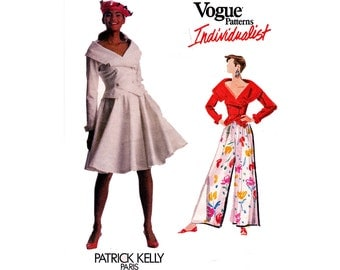 PATRICK KELLY Jacket Top Wrap Skirt & Flared Palazzo Pants Pattern Vogue Individualist 2286 Size 6 8 10 Bust 30 1/2 - 32 1/2 inches