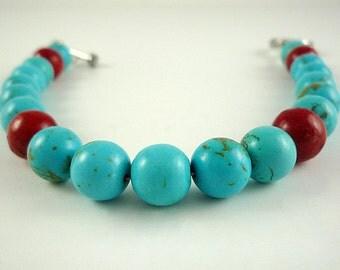 Turquoise Bracelet Turquoise Coral Bracelet Gemstone Bracelet Turquoise Silver Red Coral Bracelet Turquoise Coral Bracelet Beaded