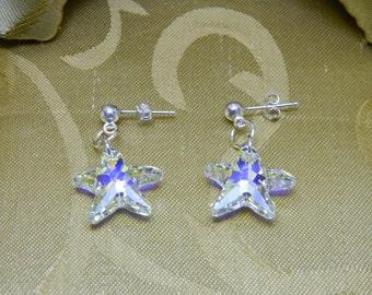 Starfish Swarovski AB(Aurora Borealis) Crystal Dangle Earrings with Sterling Silver Post/Maid of Honor Gift/Christmas Earrings