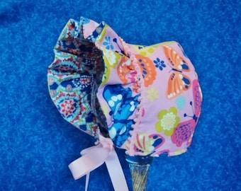 Pink Baby Bonnet Butterflies