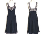 Vintage 1940s Lingerie, Heavenly Silk Fischer Bias Cut Slip, 40s Nightgown, Sz 32