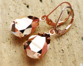 Rose Gold Earrings, Rose Gold Jewelry, 14K Rose Gold Leverbacks, Swarovski Crystal Rhinestone Teardrops, Bridesmaid Gift