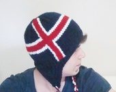 Knit Iceland Flag Hat - Hand knit with earflap Icelandic hat handknit big head hat