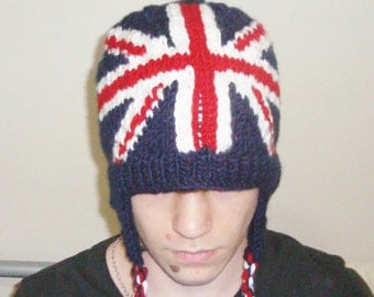English Flag Hat Hand Knit Hat with Ear flap Hat Winter Hat in Red, White and Blue united kingdom british gift for boyfriend or girlfriend