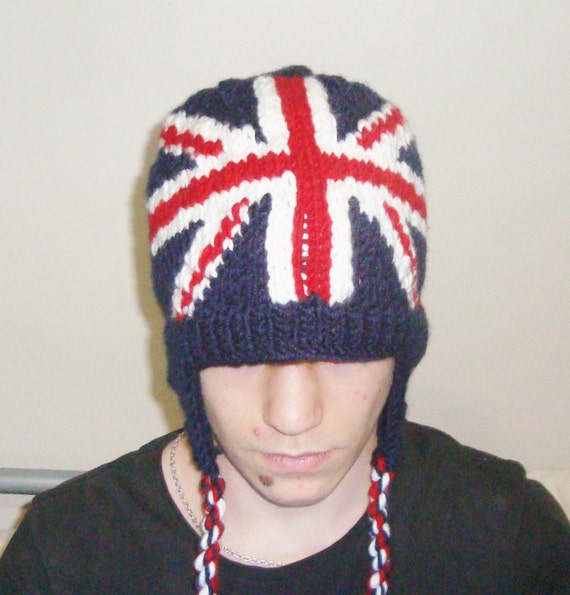 England Flag Hat Hand Knit Womens Hat with Ear flap Hat / Red, White and Blue british gift for boyfriend or girlfriend